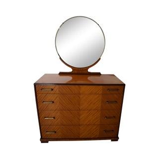 Vintage Art Deco Satin Wood Dresser With Mirror