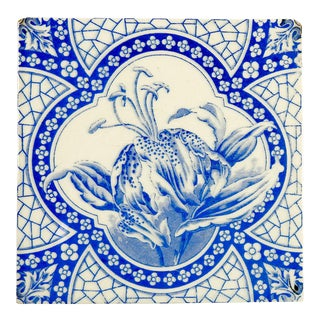 Antique Tiger Lily Victorian Tile
