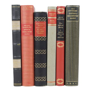 Scandinavian Leather Bound Books - S/6