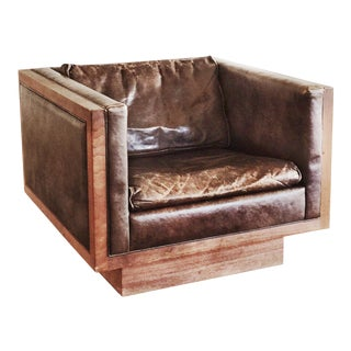 Milo Baughman Leather Club Chair
