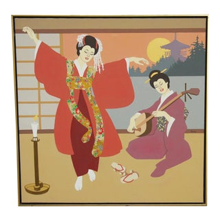 Mid-Century Japanese Geishas Oil on Canvas Painting