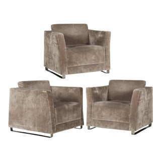 Bernhardt Lounge Chairs with Metal Bases - Set of 3