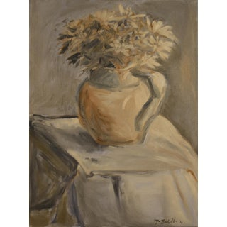 """White Mums in a Porcelain Water Pitcher"" Painting"