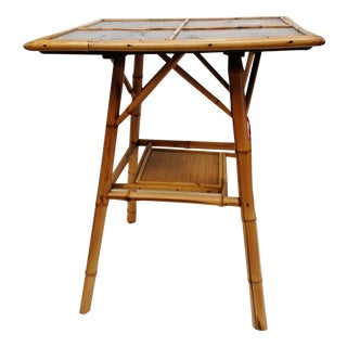 Square Bamboo and Lacquer Side Table with Shelf