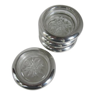 Empire Pewter and Glass Coasters - Set of 4