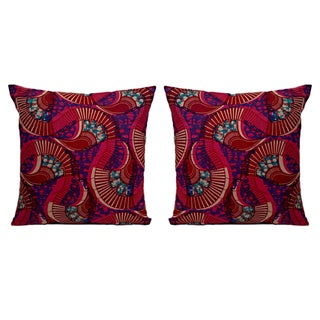 Peacock African Wax Print Pillows - A Pair