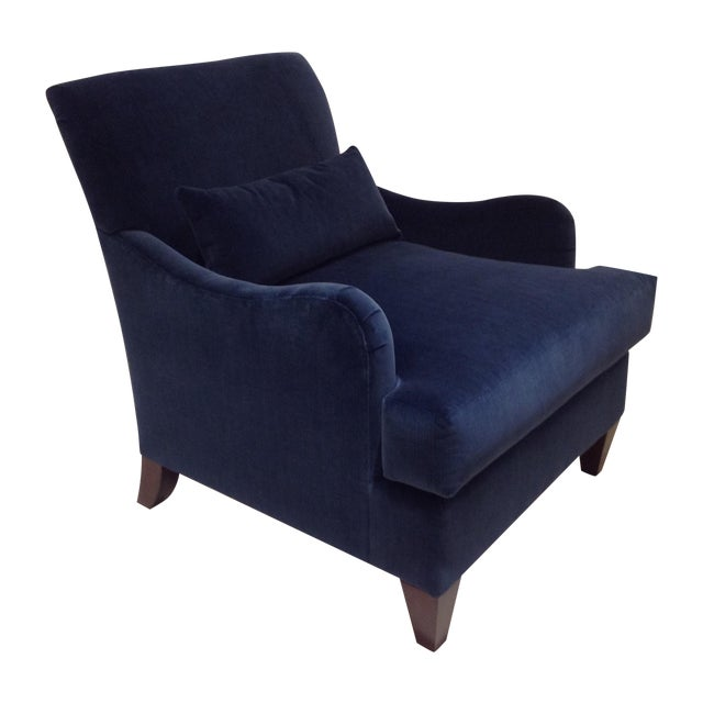 Baker blue velvet abbey chair chairish for Chair 6 mt baker