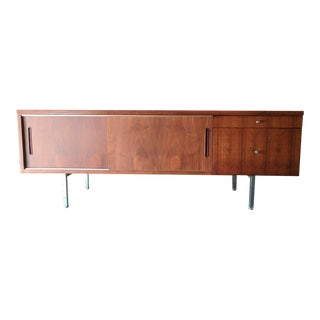 Large Refinished Walnut Office Credenza with File Drawer