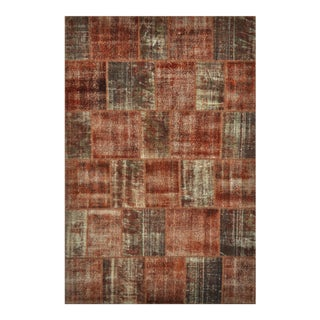 "Turkish Over-Dyed Distressed Patchwork Area Rug - 6'7"" X 9'11"""