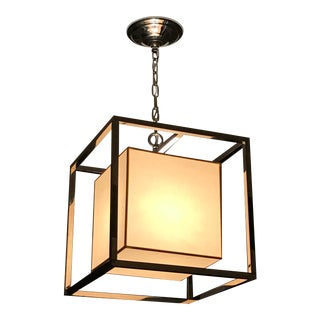 Caged Polished Nickel Lantern