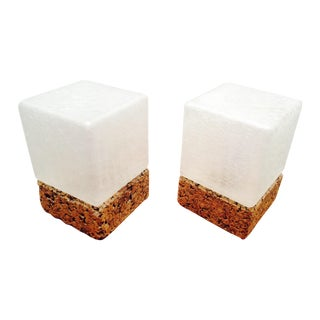 Ice Cube Crackled Glass Table Lamps - A Pair