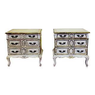 White & Gold Italian Chests - A Pair