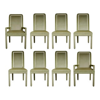 Velvet & Brass Detail Dining Chairs - Set of 8