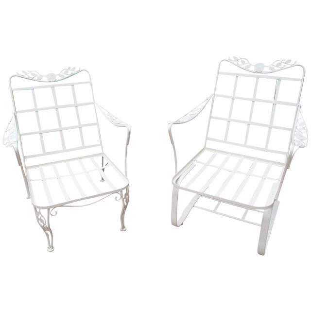 Vintage Russell Woodard Wrought Iron Chairs - Pair - Image 1 of 11