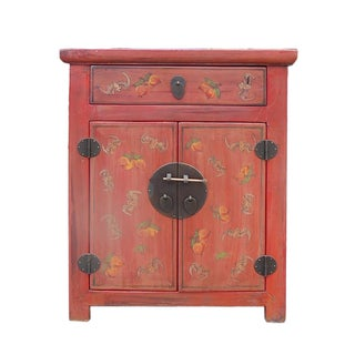 Chinese Distressed Orange Side Table/Nightstand