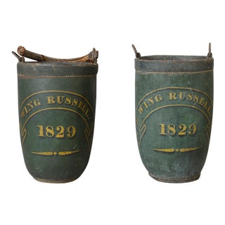 Rare Pair of Leather Fire Buckets