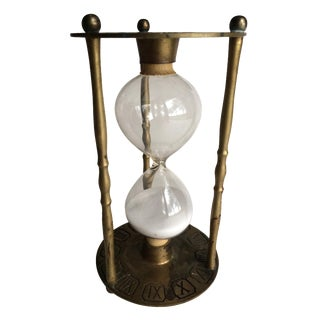 Vintage Brass Zodiac & Roman Numeral Hourglass