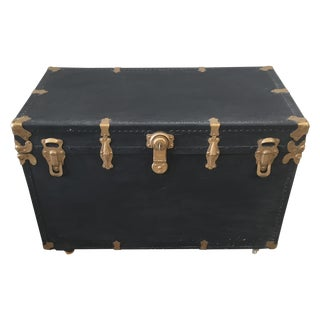 Antique Black Trunk with Brass Hardware