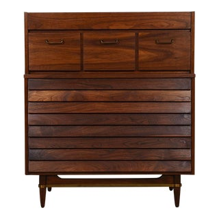 Compact Mid Century Modern Dresser with Louvered Front