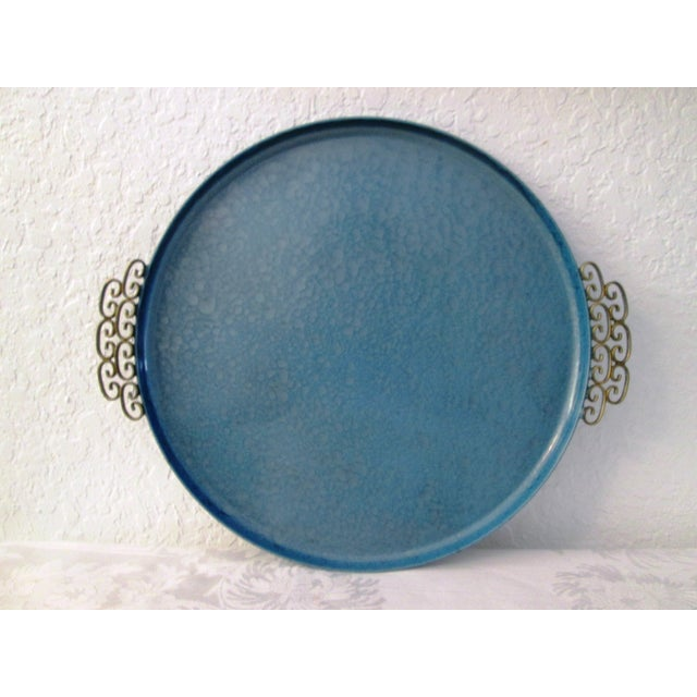 Mid-Century Moiré Glaze Kyes Powder Blue Tray - Image 2 of 4