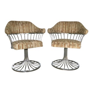 Mid-Century Chrome & Boucle Swivel Chairs - a Pair