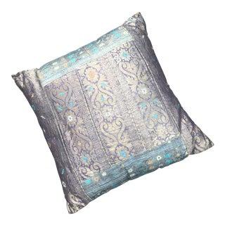 Vintage India Import Sari Silk Throw Pillow