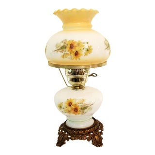 Mid-Century Victorian Style Glass Hurricane Table Lamp