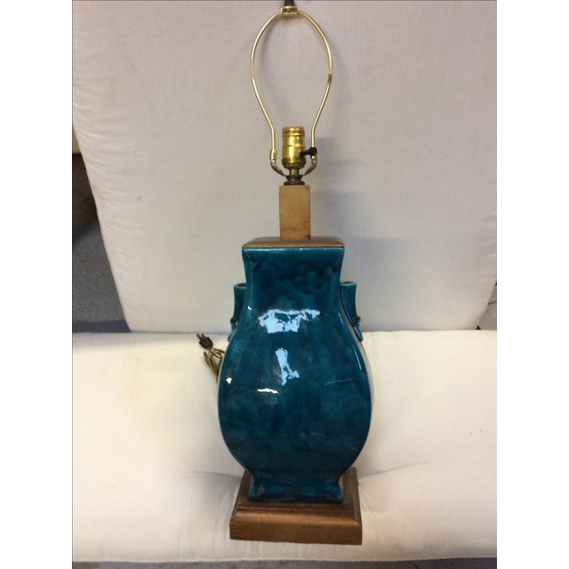 Turquoise Blue Asian Porcelain Lamp - Image 3 of 8