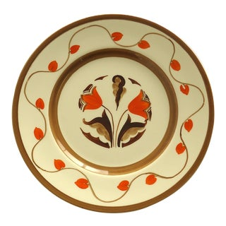 Art Deco Hand Painted Orange Tulip Plate