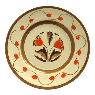 Art Deco Hand Painted Orange Tulip Plate