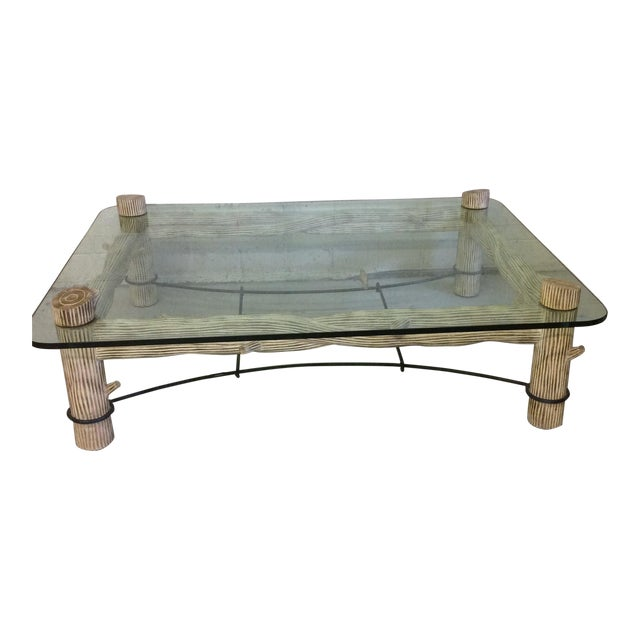 Faux Bois Iron & Glass Coffee Table - Image 1 of 6