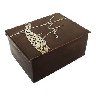 Art Nouveau Cigarette Box with Silver Peacock Overlay