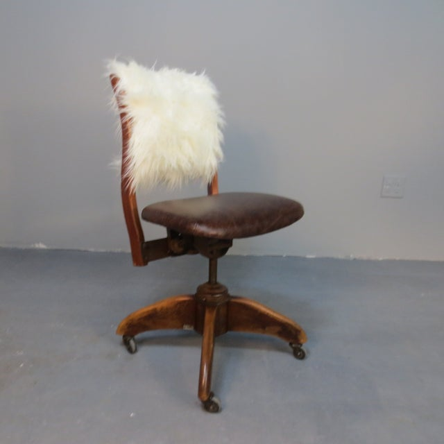 Art Deco Office Chair With Fur Back - Image 5 of 5