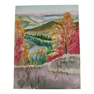 Vintage Fall Landscape Watercolor Painting