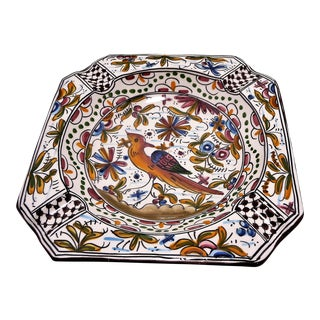 Vintage Hand Painted Bird Motif Ashtray