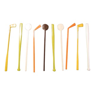 Mid-Century Modern Sports Swizzle Sticks - Set of 10
