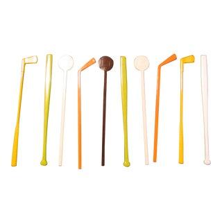 Mid-Century Modern Sports Swizzle Sticks - Set of 10