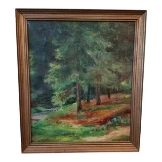 Vintage Antique Danish Forest Tree Landscape Painting by Borch