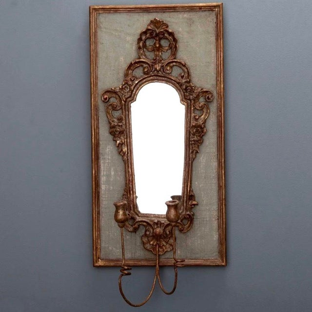 Pair 19th Century Italian Sconces With Carved Mirror and Gesso Frames - Image 7 of 10