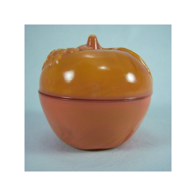 Slag Glass Peach Shaped Box Vintage - Image 4 of 8