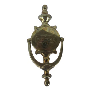 Brass Door Knocker Engraved Welcome