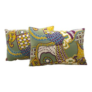 Printed Psychedelic Bolster Pillows - A Pair
