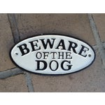 Image of Cast Iron Beware of Dog Sign