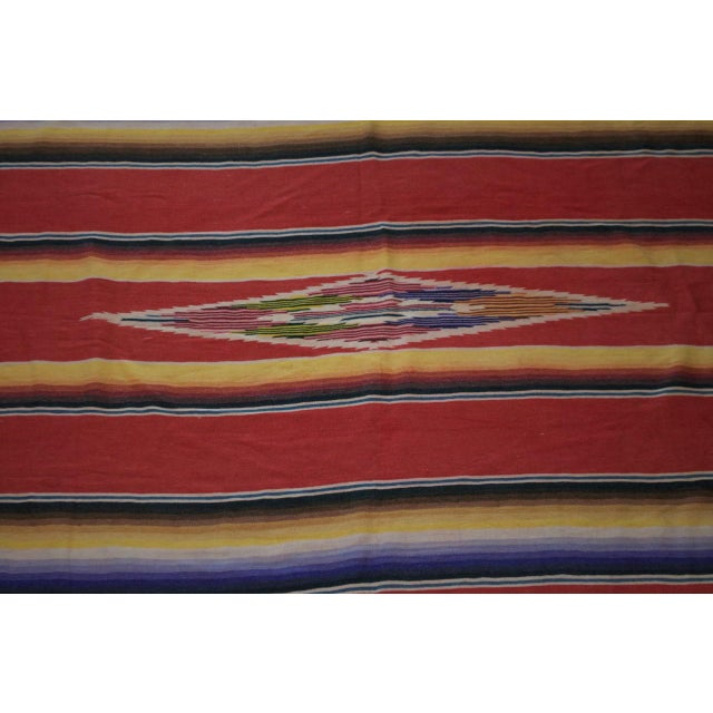 Vintage Mexican Saltillo Serape Blanket Throw - Image 3 of 8