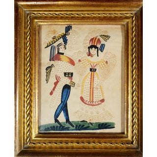 Charming American or Continental Folk Art Pin-prick Painting
