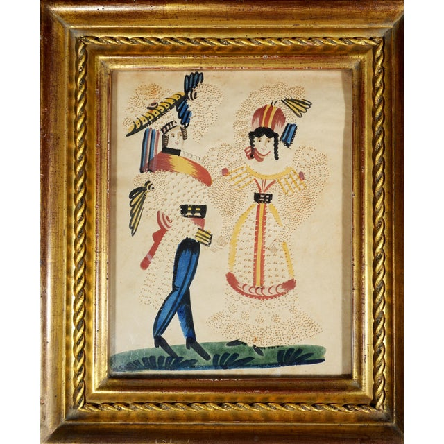 Charming American or Continental Folk Art Pin-prick Painting - Image 1 of 5