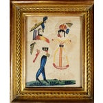 Image of Charming American or Continental Folk Art Pin-prick Painting