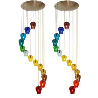 Morris Lapidus Rainbow Spiral Glass Chandeliers - a Pair