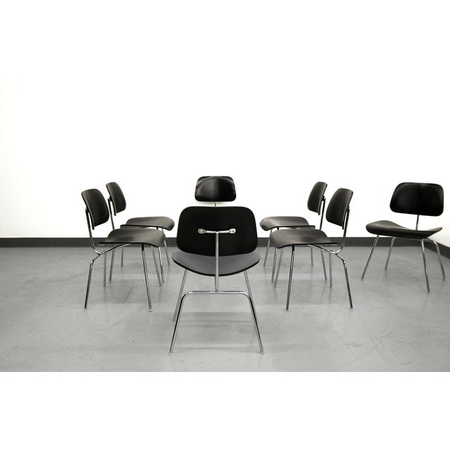 Set of 7 Authentic Eames Herman Miller Dcm Black Ebony Mid Century Dining Chairs - Image 4 of 8