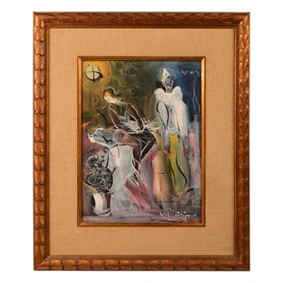 Jeanette and the Clown Signed Original Painting by Walter Philipp